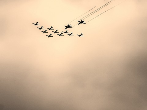 Patrouille Swiss above Switzerland