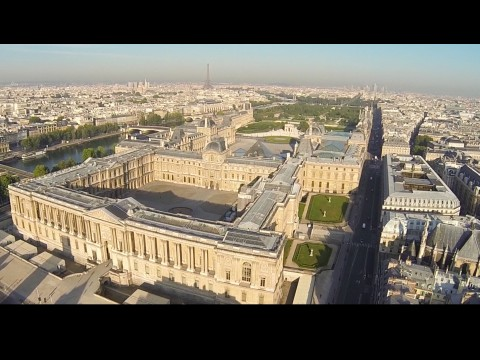 Drone flyining across Europe