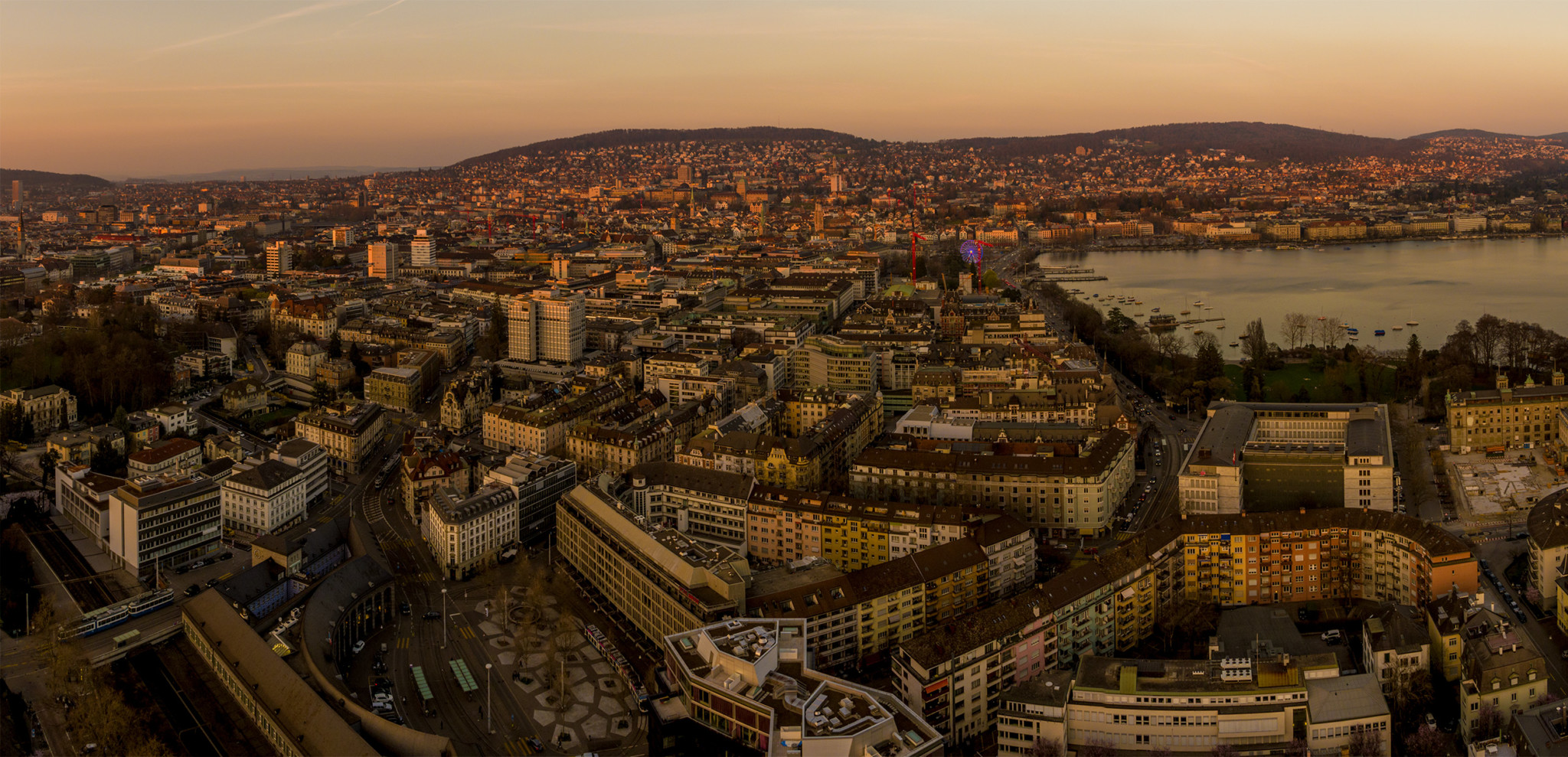 Sunset Over The City Of Zurich